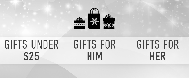 Picture of presents. Gifts Under $25. | Gifts for Him. | Gifts for Her.